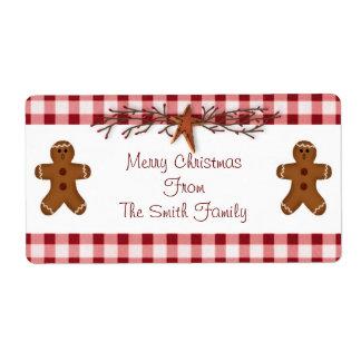 Gingerbread Men Label Shipping Label