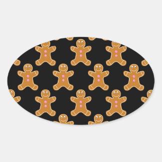 Gingerbread Men Oval Sticker