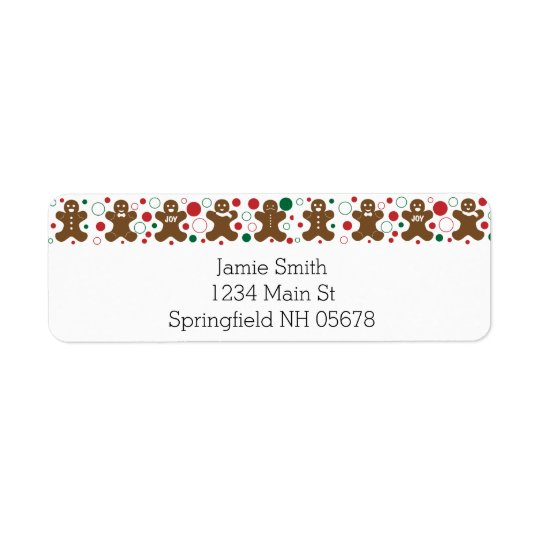 Gingerbread Men Return Address Labels