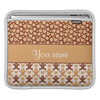 Gingerbread Men, Smiley Faces and Hearts iPad Sleeve