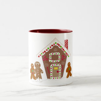 Gingerbread Men with Gingerbread House Two-Tone Coffee Mug