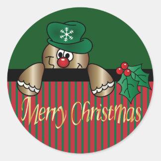 Gingerbread Peeker | Christmas Round Sticker