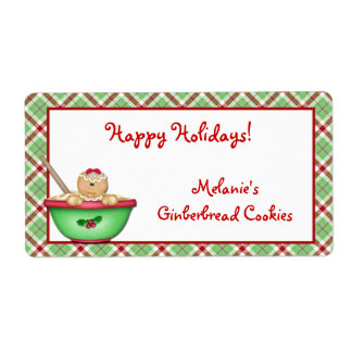 Gingerbread Plaid Label Shipping Label
