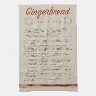 Gingerbread Recipe Kitchen Towel