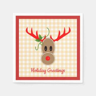 Gingerbread Reindeer on Gingham Napkins Paper Napkins