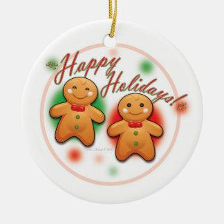 Gingerbread Round Ceramic Ornament