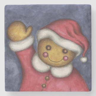 Gingerbread Santa Stone Coaster