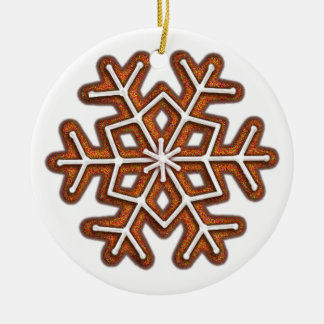 GINGERBREAD SNOWFLAKE by SHARON SHARPE Round Ceramic Ornament