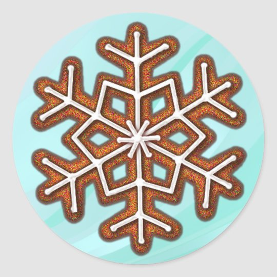 GINGERBREAD SNOWFLAKE COOKIE by SHARON SHARPE Classic Round Sticker