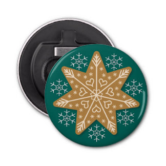 Gingerbread Star and Snowflakes Button Bottle Opener