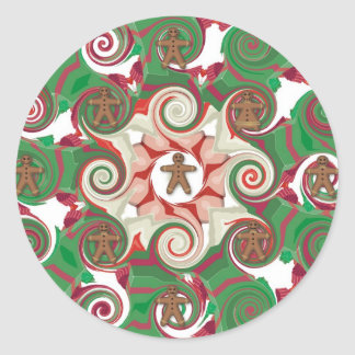 Gingerbread Swirls Classic Round Sticker