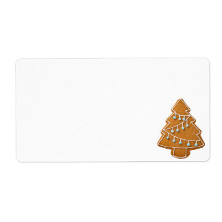 Gingerbread Tree Isolated On White Background Shipping Label