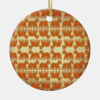 Gingerbread Unicorn Round Ceramic Ornament