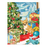 Gingerbread Wishes Chihuahua Christmas Art Postcard