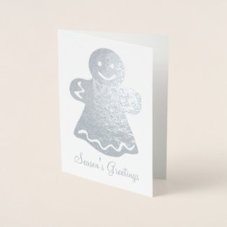 Gingerbread Woman Christmas Cookie Holiday Xmas Foil Card