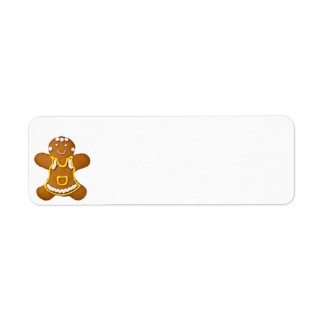 Gingerbread Woman Isolated On White Background Return Address Label
