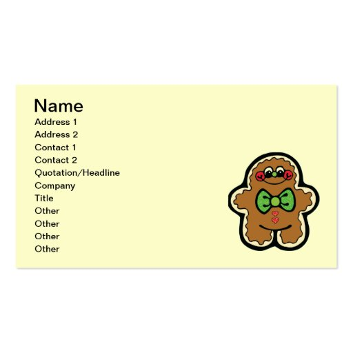 gingerbreadman 001PR CUTE COOKIES WINTER FOODS TRE Business Card Templates