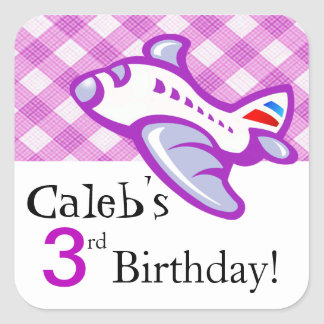 Gingham Airplane Birthday Party Favor | lilac Square Sticker