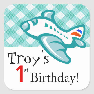Gingham Airplane Birthday Party Favor | mint aqua Square Sticker