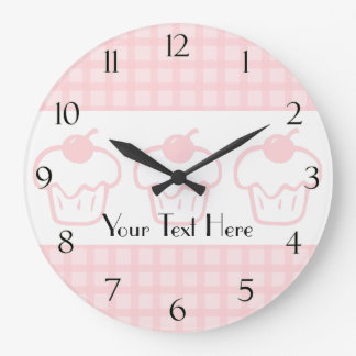 Gingham and Cupcake Clock with Numbers
