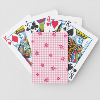Gingham and Roses Bicycle Playing Cards