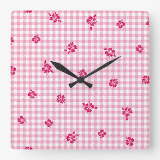 Gingham and Roses Square Wall Clock