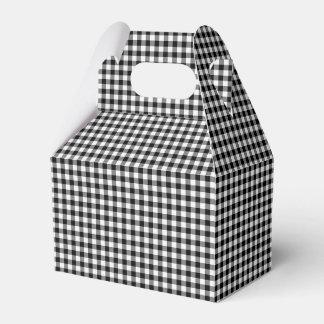 Gingham, Black-White-PARTY FAVOR BOX, gable Favor Boxes