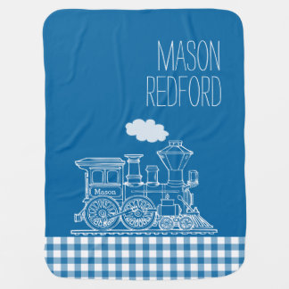 Gingham blue boys name white train baby blanket