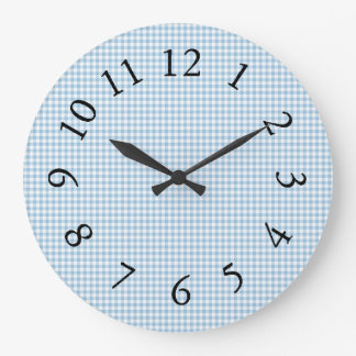 Gingham_Blue-Classic-Country_ Large Clock