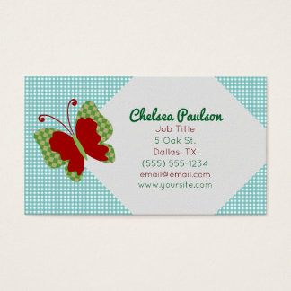 Gingham Butterfly Business Cards
