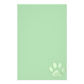 gingham cat paw - green stationery