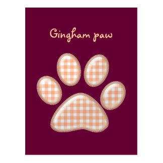 gingham cat paw - orange postcard