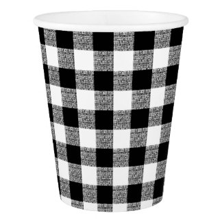 Gingham Check Black White Paper Cup