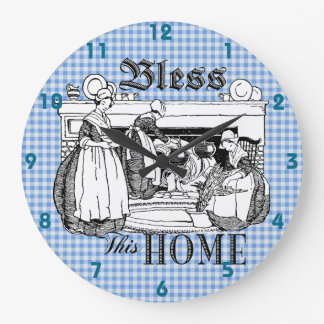 gingham check blue and white Bless This Home clock