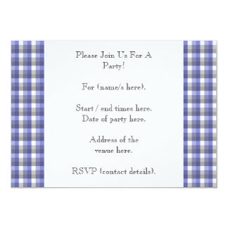Gingham check. Blue, Gray, White. Photo Template. Card