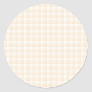 Gingham check pattern. Beige and White. Classic Round Sticker