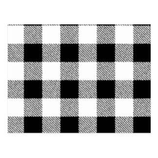 Gingham check pattern black and white postcard