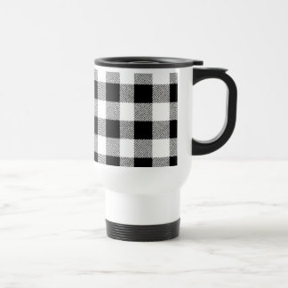 Gingham check pattern black and white travel mug