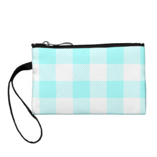 Gingham Check Pattern (light blue) Coin Purse