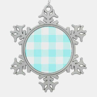 Gingham Check Pattern (light blue) Pewter Snowflake Ornament