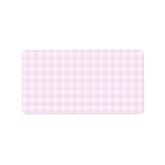 Gingham check pattern. Pale pink and white. Label