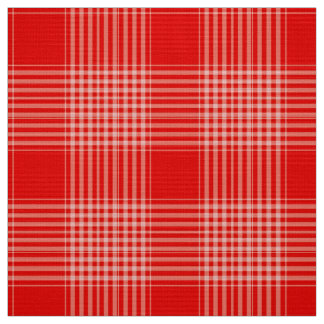 Gingham Check Red and White Fabric