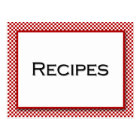 Gingham Check Red White Recipe Card
