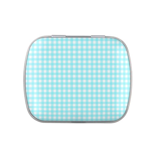 Gingham checks in aqua blue and white candy tin