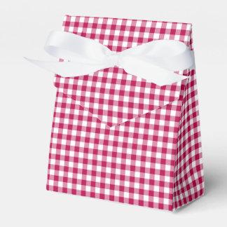 Gingham-Dark Pink-Favor Box, Tent Favor Box