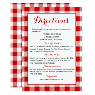 Gingham Directions Details Red White Check Wedding Card
