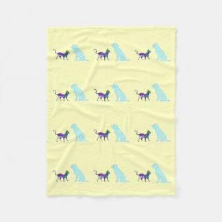 Gingham Dog And Calico Cat Fleece Blanket