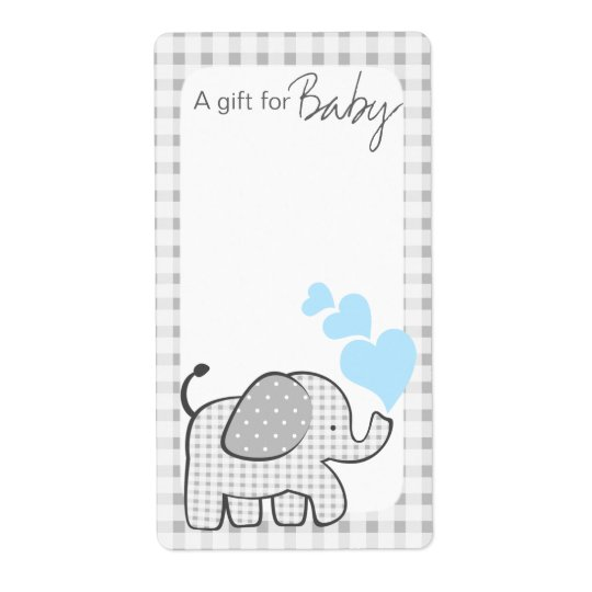 Gingham Elephant Book Tags Blue Hearts Shipping Label