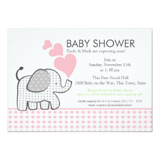 "Gingham Elephant Pink Baby Shower 5"" X 7"" Invitation Card"