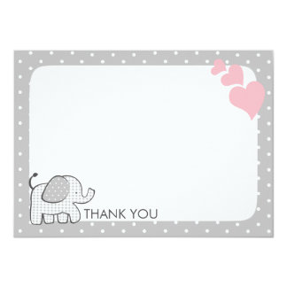 """Gingham Elephant Pink Baby Thank you 4.5"""" X 6.25"""" Invitation Card"""